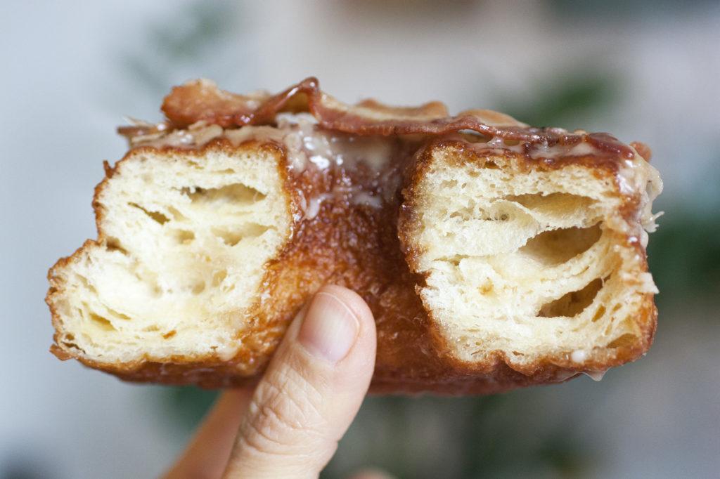 bacon croissant donut innards at donut pub